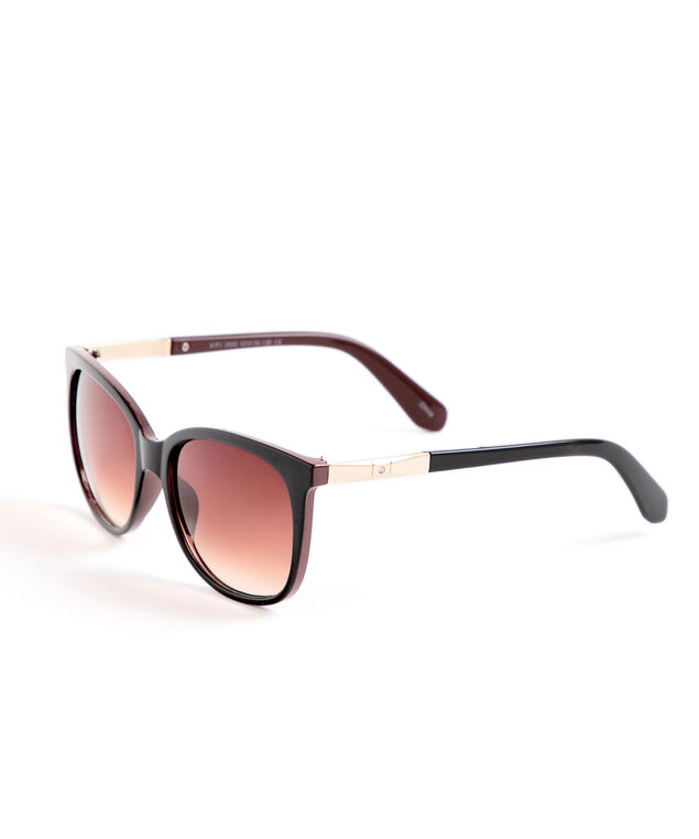 Black Brown Round Sunglasses, Black/Brown/Gold