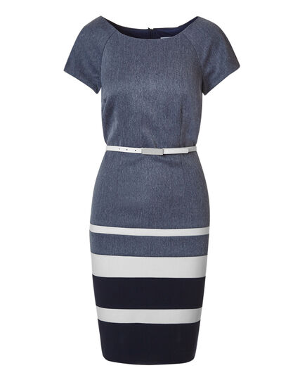Navy Stripe Belted Dress, Navy/Chambry, hi-res
