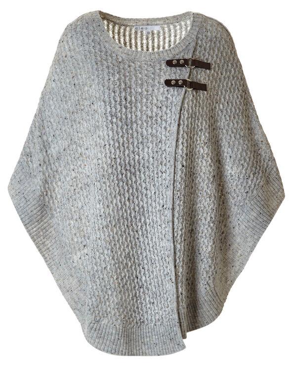 Light Grey Novelty Stitch Poncho, Light Grey, hi-res