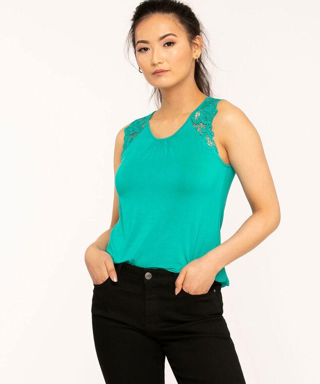 Sleeveless Lace Trim Knit Top, Jade