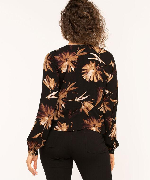 Black Floral Peplum Hem Blouse, Black/Brown/Wine