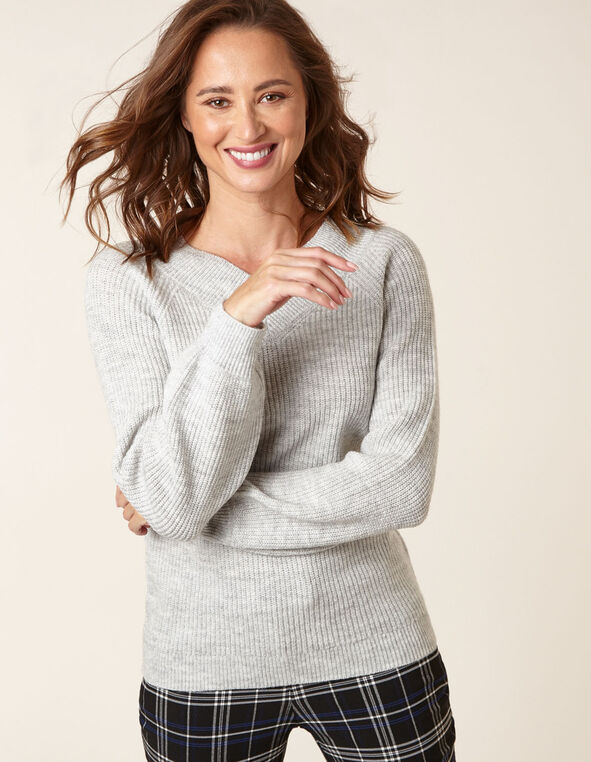 Grey Lurex Blouson Sweater, Grey, hi-res