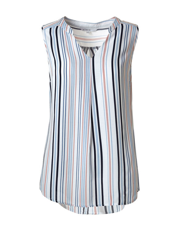 Striped Peasant Blouse, Blue/White/Pink, hi-res