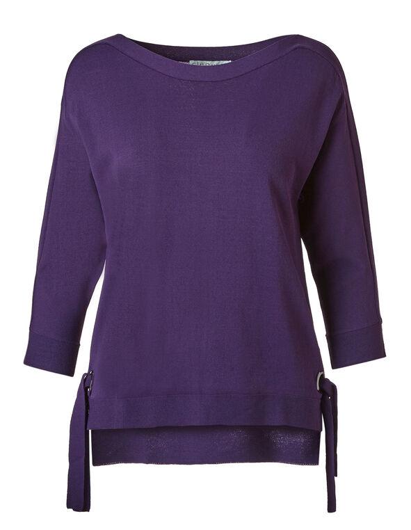 Dark Purple Crepe Pullover, Dark Purple, hi-res