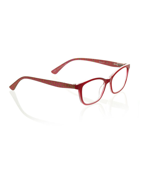 Red Patterned Reader Glasses, Red, hi-res