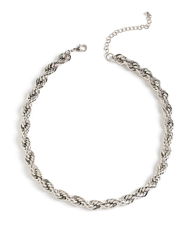 Silver Twisted Rope Necklace, Silver