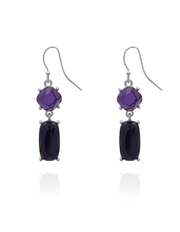 Purple Crystal Dropped Earrings, Purple, hi-res