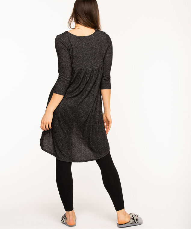 Pleat Back High-Low Tunic, Black Mix