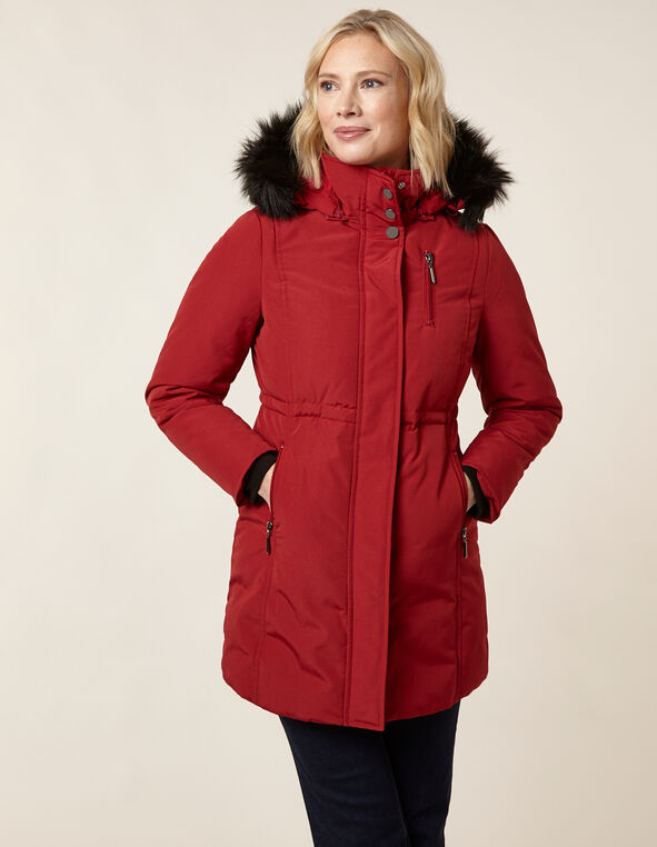 Red Anorak Faux Down Coat, Red, hi-res