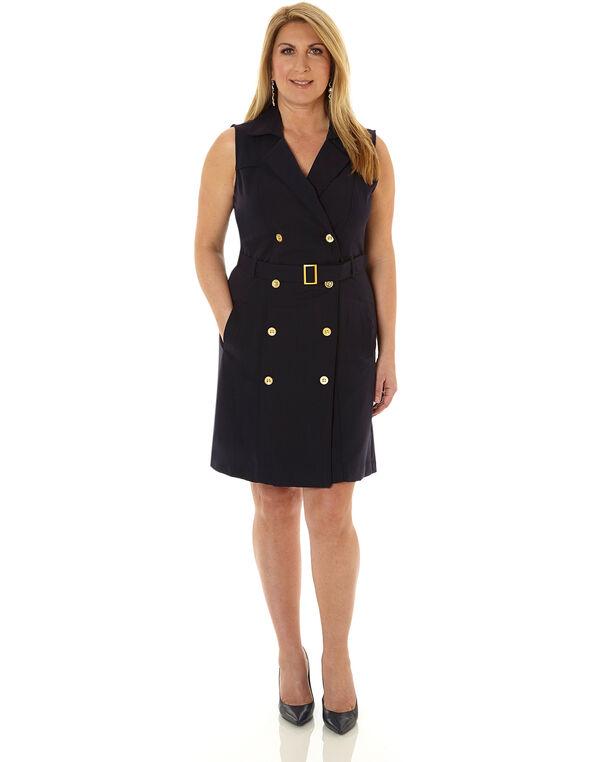 Navy Trench Styled Sheath Dress, Navy, hi-res