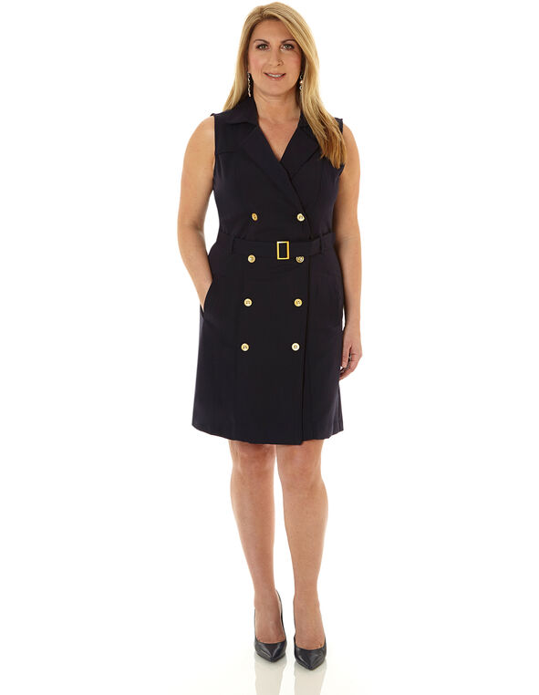 Navy Trench Styled Sheath Dress, Navy, hi-res