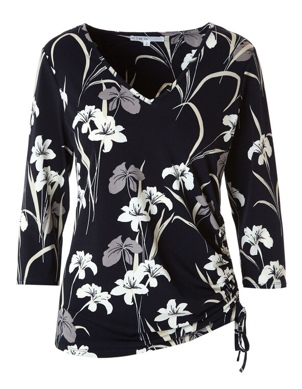 Navy Floral Ruched Waist Top, Navy, hi-res