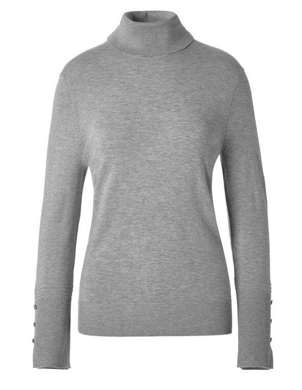 Grey Turtleneck Sweater, Grey, hi-res