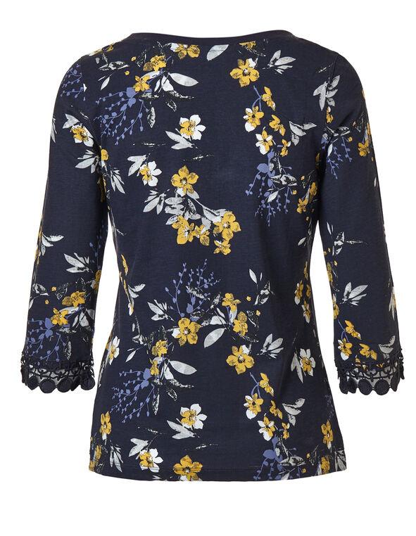 Navy Floral Lace Hem Tee, Navy, hi-res
