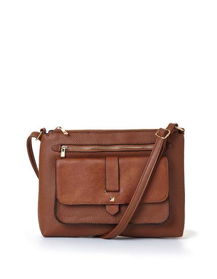 Brown Flap Cross Body Bag, Brown, hi-res