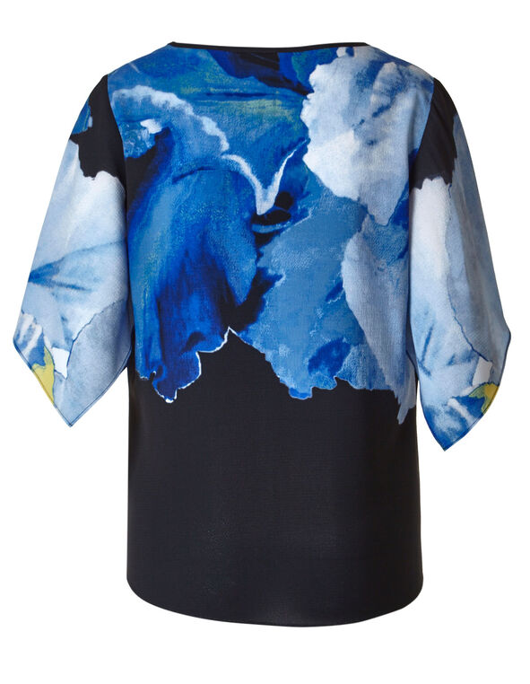 Cobalt Printed Bubble Crepe Blouse, Cobalt/Black, hi-res