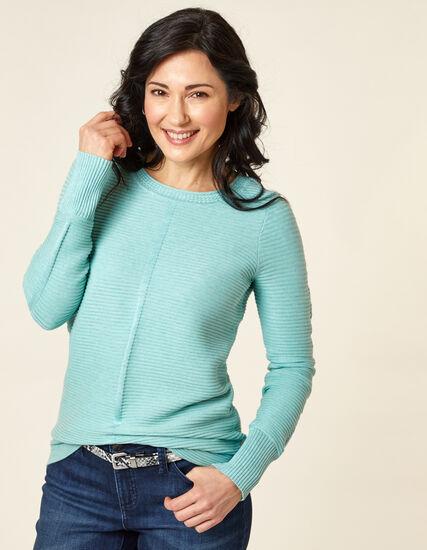 Ottoman Stitch Sweater, Blue/Teal, hi-res