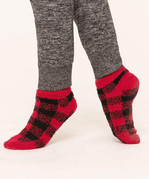 Buffalo Check Plush Ankle Sock 2-Pack, Black/Red, hi-res