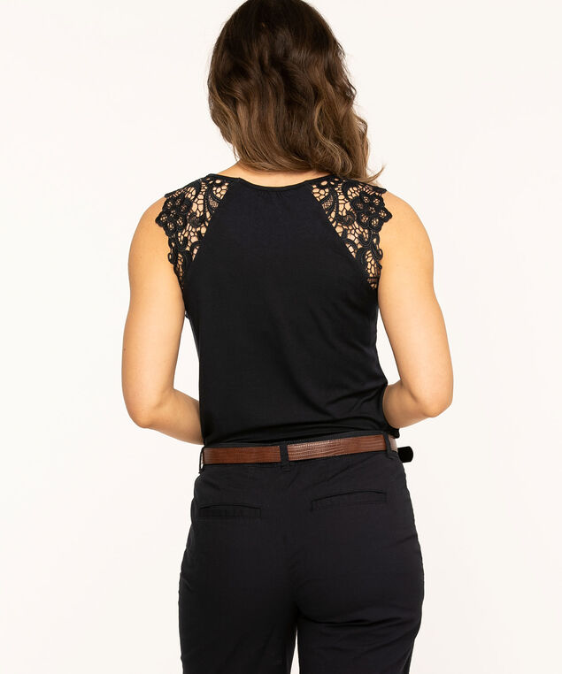 Sleeveless Lace Trim Knit Top, Navy