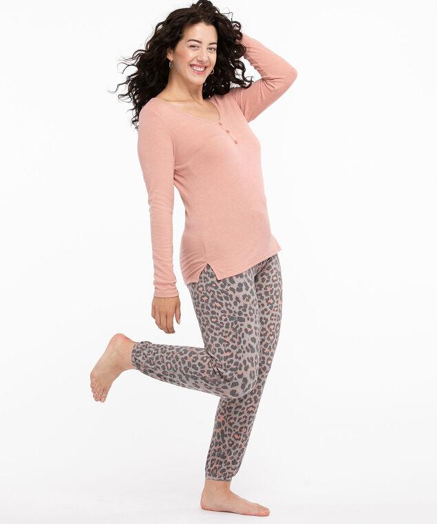 Super Soft Henley Pyjama Set, Grey/Pink Animal