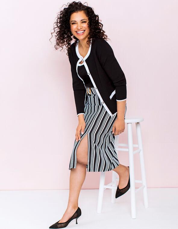 Striped Belted Skirt Look, , hi-res