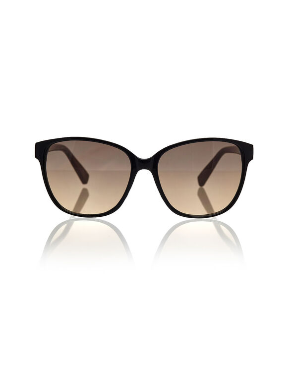 Black Wayfarer Sunglasses, Black, hi-res