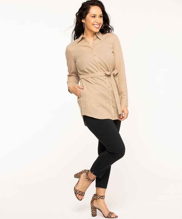 Tan Cotton Linen Tunic Blouse, Tan