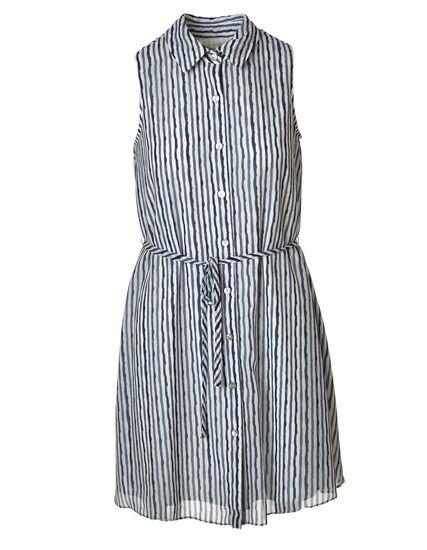 Strip Collared Button Down Dress, Navy, hi-res