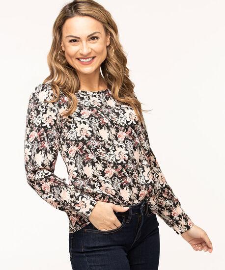 Long Sleeve Scoop Neck Blouse, Black/Pink Floral, hi-res