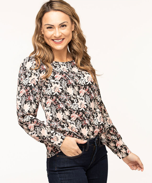 Long Sleeve Scoop Neck Blouse, Black/Pink Floral