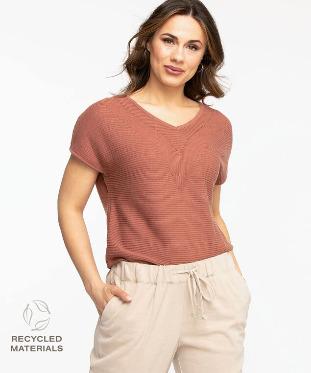 Recycled V-Neck Pullover Sweater, Rose