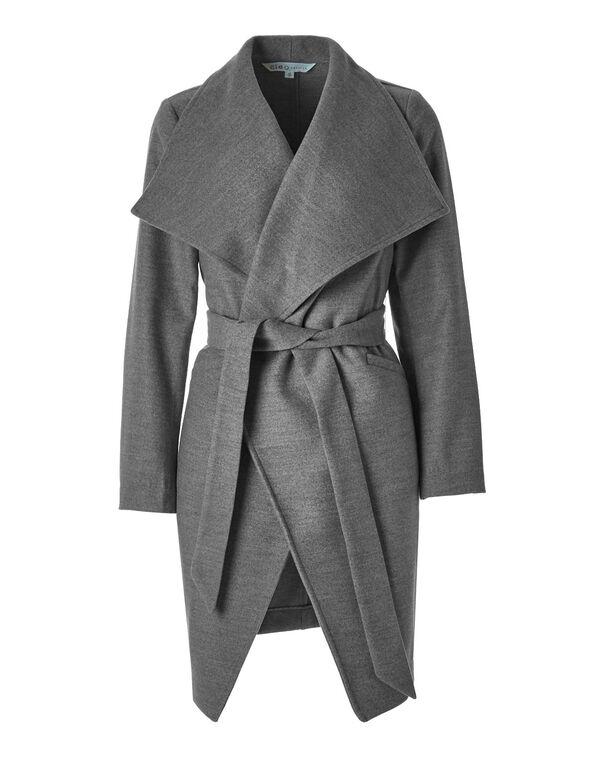 Grey Faux Wool Wrap Coat, Grey, hi-res