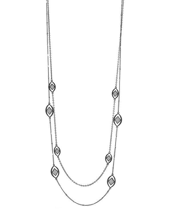Black Glitter Pendant Long Necklace, Black, hi-res