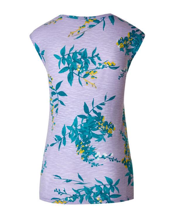 Lavender Floral Cap Sleeve Slub Tee, Lavender, hi-res