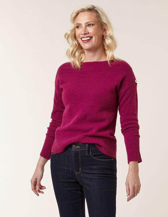 Fuchsia Button Detail Sweater, Fuchsia, hi-res