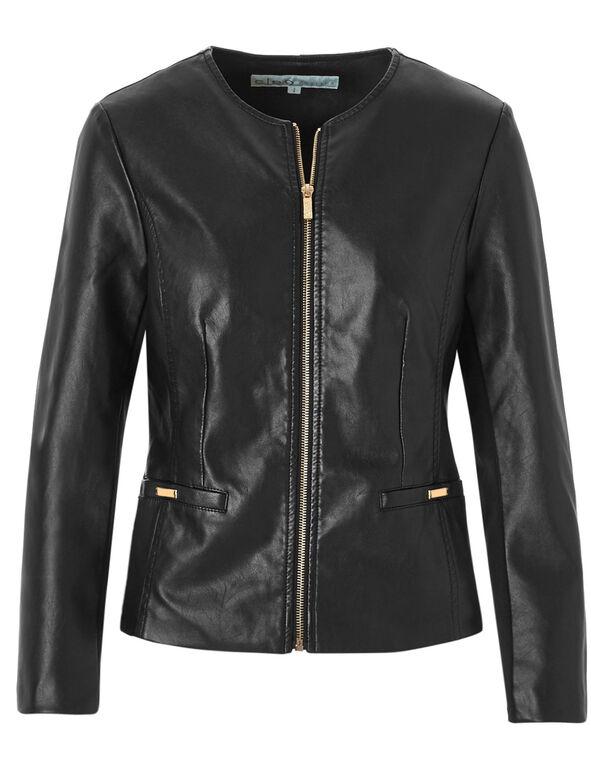 Black Insert Faux Leather Jacket, Black, hi-res
