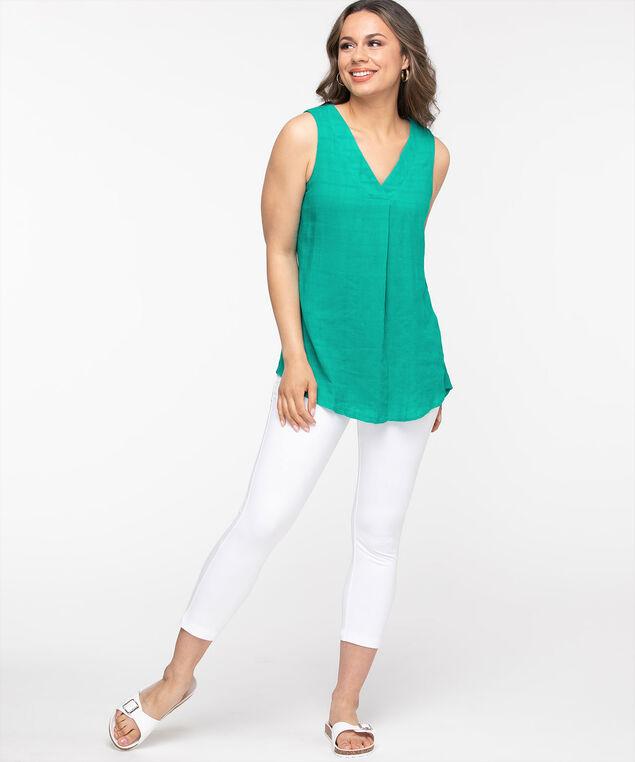 Sleeveless V-Neck Tunic Blouse, Jade