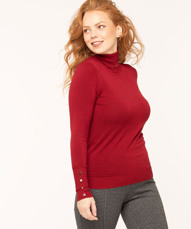 Long Sleeve Essential Turtleneck, Red