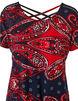 Red Printed Crochet Sleeve Top, Red/Navy, hi-res