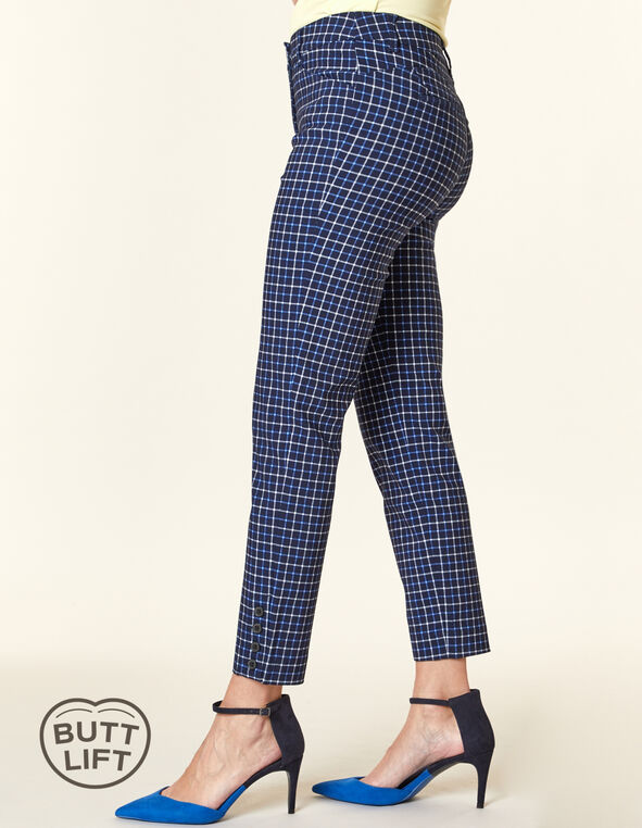 Plaid Button Butt Lift Slim Pant, Blue, hi-res