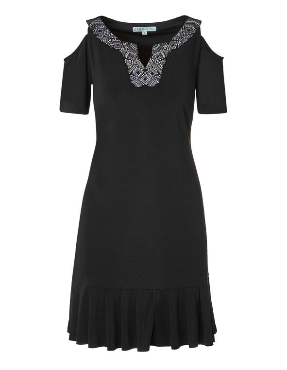 Black Pleated Bottom Dress, Black, hi-res