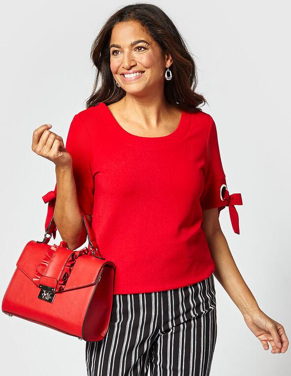 Red Ruffle Small Handbag, Red, hi-res