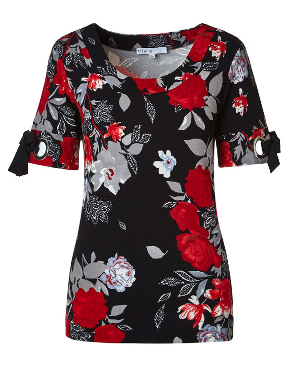 Red Floral Crepe Top, Black/Red, hi-res