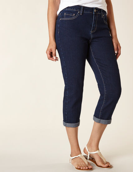 Dark Wash Denim Capri, Denim, hi-res