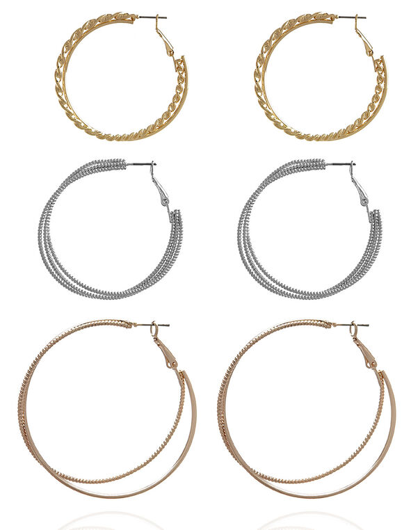 Textured Hoop Earring Trio, Silver/Gold/Rose Gold, hi-res