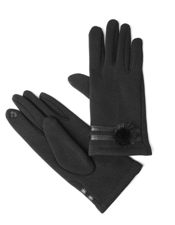 Black Pom Pom Text Glove, Black, hi-res