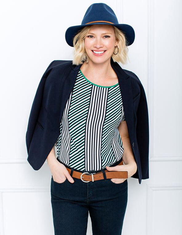Emerald Stripe Top Look, , hi-res
