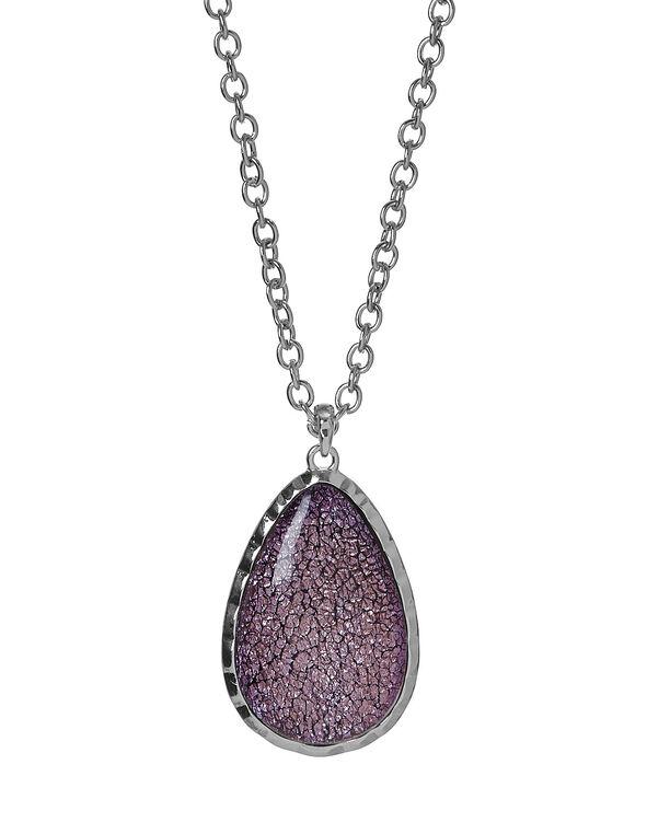 Purple Crackled Stone Necklace, Purple, hi-res