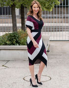 Merlot Striped Sweater Dress, Black, hi-res