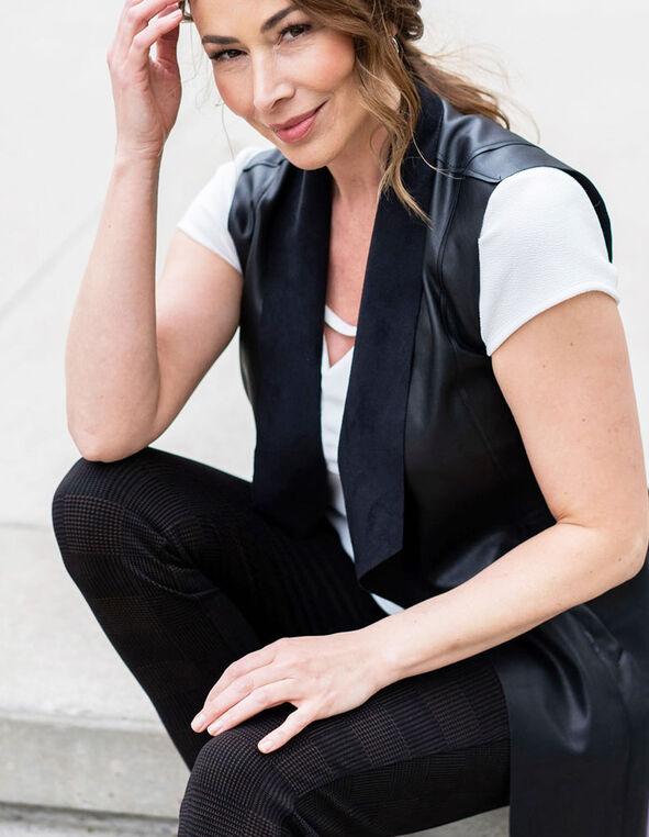Black Faux Leather Vest, Black, hi-res